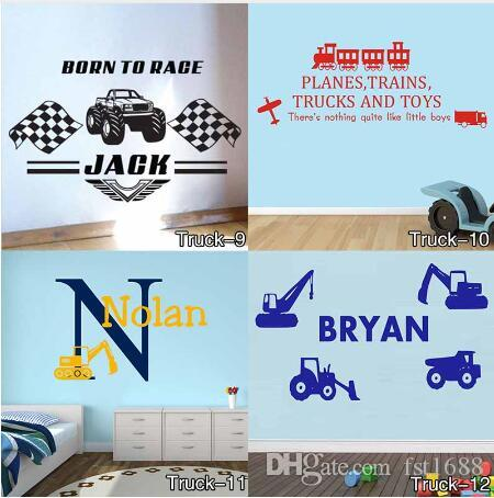 Personalised Truck Wall Sticker for Any Kids Name Monster Children Vinyl Decal decor sticker Free Shipping