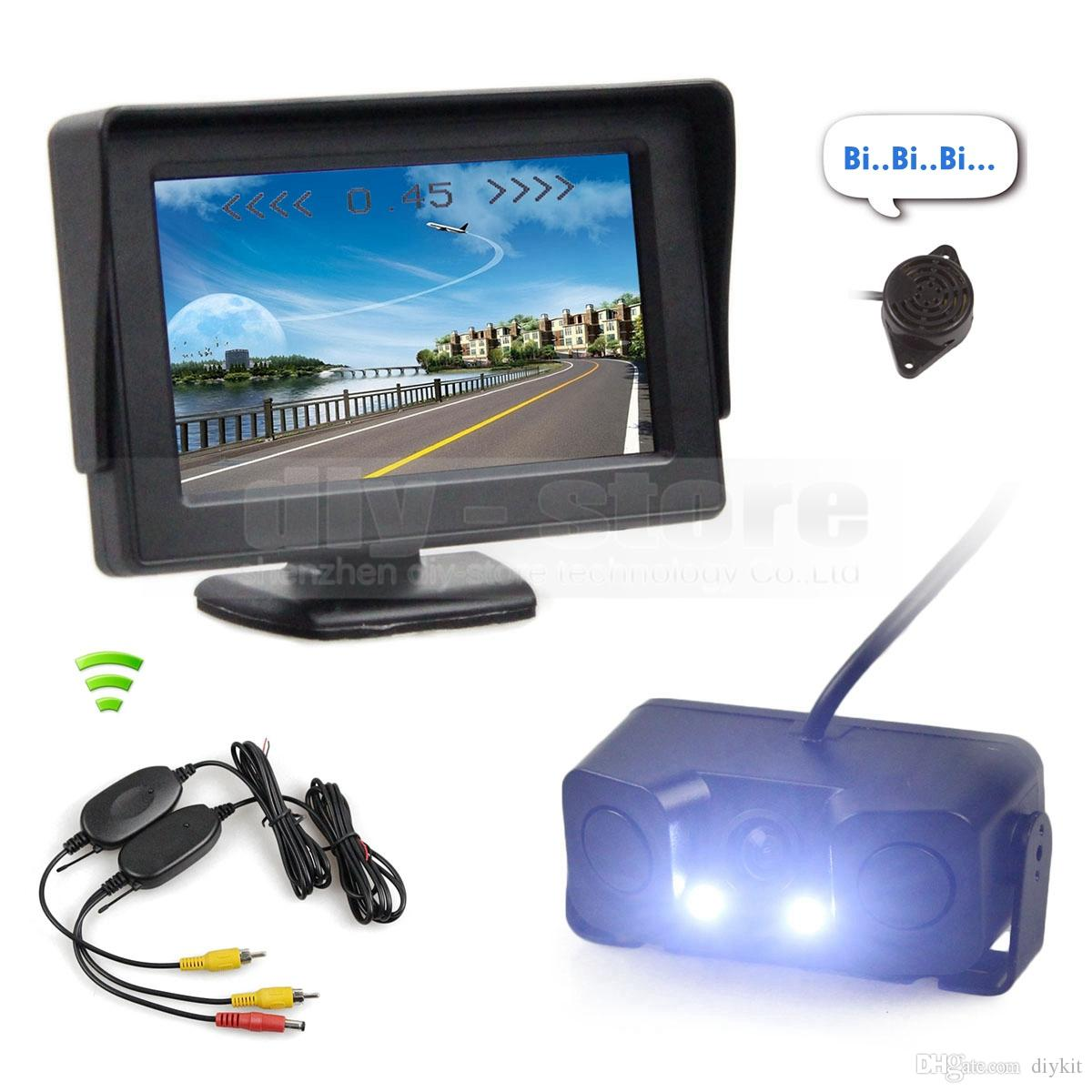 Wireless Video Parking System Kit 4.3inch Car Monitor + Waterproof LED Night Vision Parking Radar Sensor Car Camera