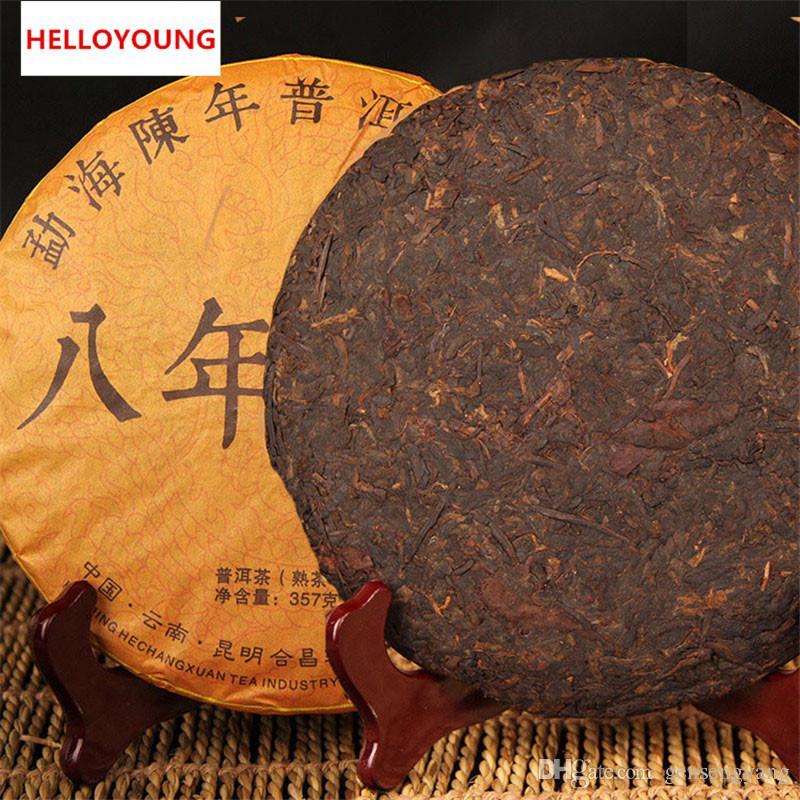 Ripe Puer thé 357 g Yunnan 8 ans Ancient Rhyme Puer thé Pu'er organique plus vieil arbre naturel cuit Puer Puerh Noir Puerh Thé Gâteau