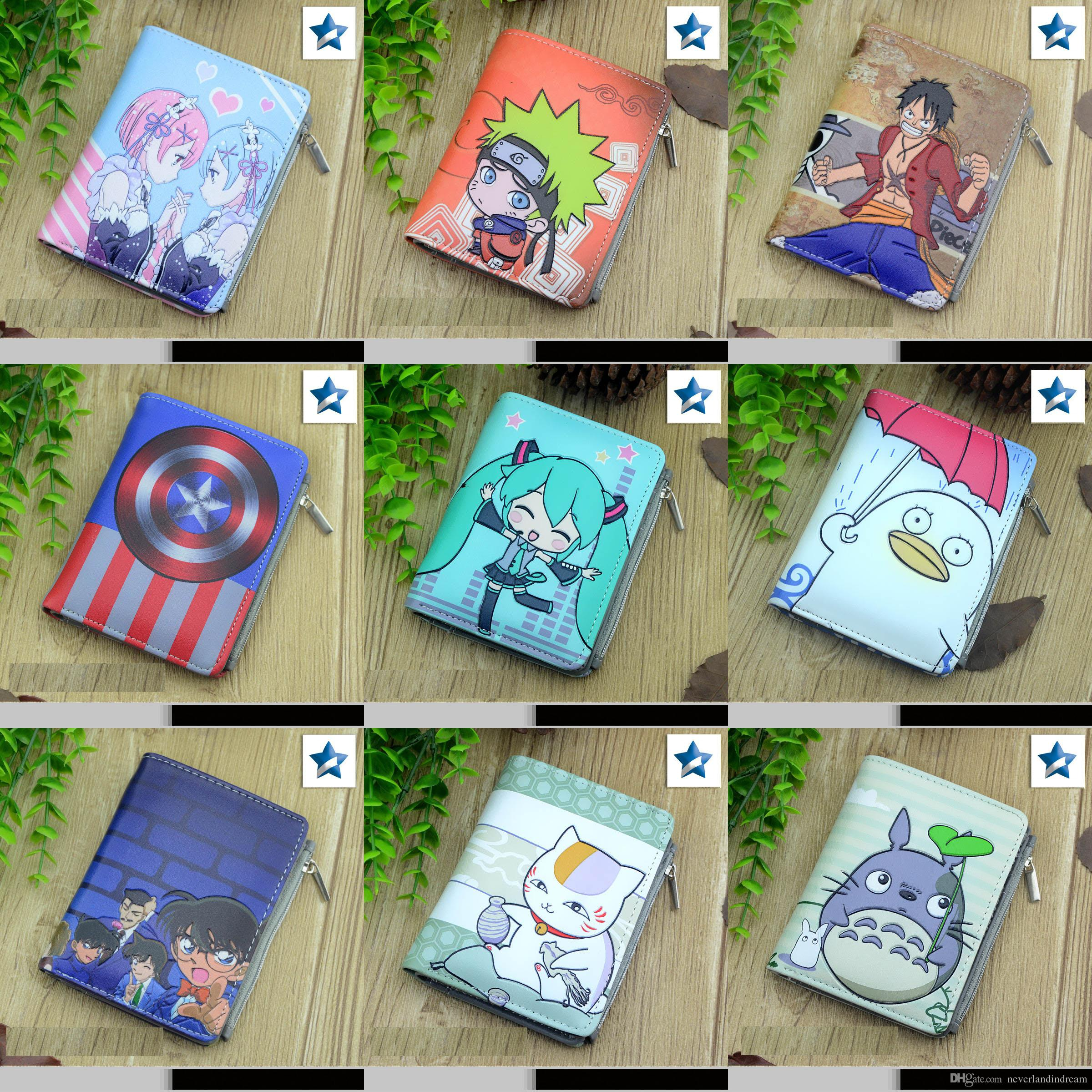 Student Short Coin Purse Anime Conan, Totoro, Miku, Gintama, Naruto, One Piece etc Embossed Zero Change Wallet with Magnetic Button