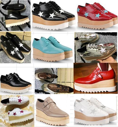 new free shipping Stella Mccartney women Shoes platform Black Genuine Leather Upper Silver Glitter Stars White Sole Stars Shoes 35-41