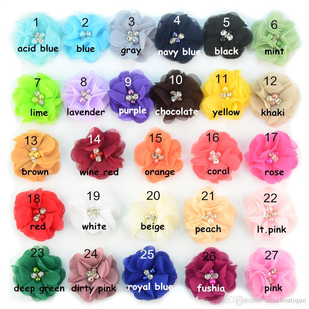 el envío 30pcs / lot 27 del color 2.36inch lindo flores de gasa con perla del Rhinestone sin las pinzas de pelo de las vendas de los accesorios H005