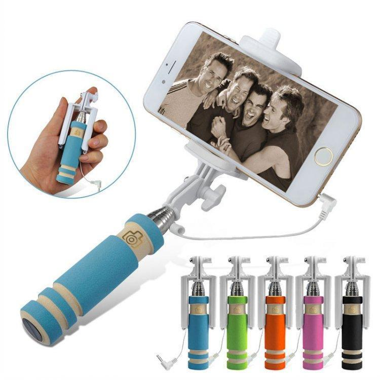 Carton Smallest Light weight Super Mini Extendable Audio Cable Wired Mobile Phone Selfi Selfie Stick Handheld Monopod for iphone 5 6 6s DHL