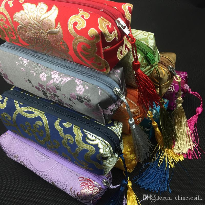 Водонепроницаемый прямоугольник молния сумка для путешествий ожерелье ювелирных изделий чехол для хранения Пенал Косметические мешки для упаковки Silk Brocade кисточкой для макияжа Кошелек