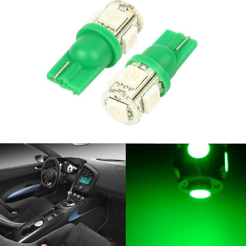 10PCS / LOT T10 5SMD 5050 زينون LED ضوء المصابيح W5W 194 168 LED جانب السيارة إسفين الذيل ضوء مصباح أحمر أخضر أبيض أصفر ICE-BLUE الأزرق PINK