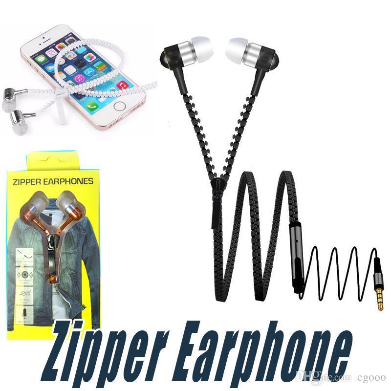 3,5 мм Zipper наушников В Уха Earbuds наушники гарнитуры с пультом дистанционного управления и микрофоном Zipper Наушники для Andriod смартфон