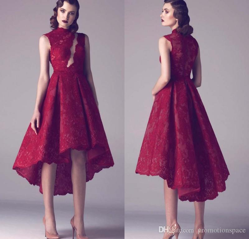 Modeste Vin Rouge Dentelle Court Plus La Taille Robes De Cocktail Haute Bas Partie Robe 2016 Robes De Retour