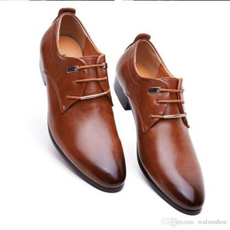 Mens business office genuine leather shoes gentleman brand wedding party black brown shoes luxury great breathable dress big size