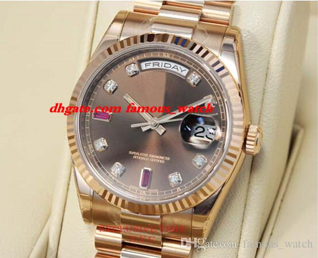 New Fashion Luxury Stainless Steel Bracelet 41mm Chocolate Diamond & Ruby Dial Everose Gold 118235 CHODRP Mechanical MAN WATCH Wristwatch