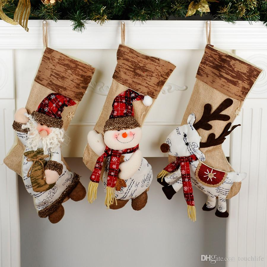 Family Christmas Stockings.Personalised Christmas Stocking Santa Claus Stocking Reindeer Snowman Christmas Stocking Fillers Family Christmas Ornaments Festive Decorations From