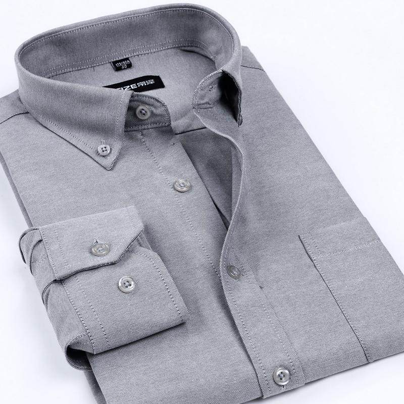 Erkekler için Toptan Yeni Geliş Oxford Erkekler Marka Gömlekler Erkek Sigara Demir Katı Renk İş Biçimsel Gömlek Klasik Stil Giyim
