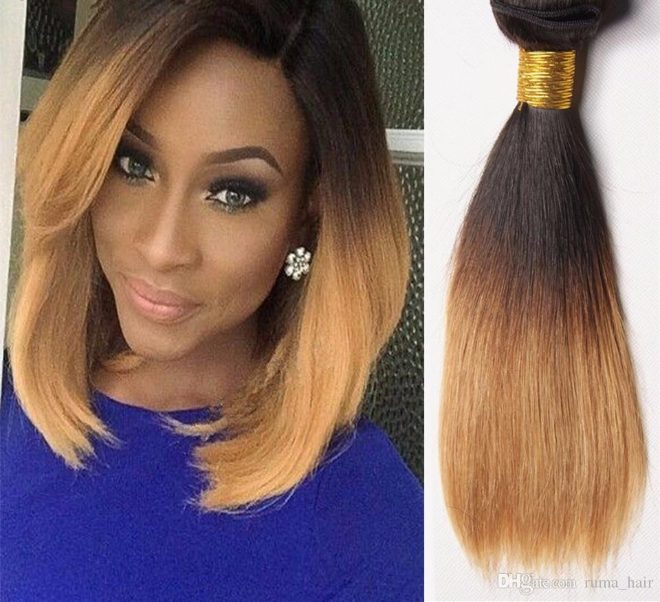 2019 Cheap 1b 4 27 Ombre Brazilian Virgin Straight Hair 3 Bundles Short Ombre Blonde Bob Hair Weave Three Tone Hair Extensions From Ruma Hair 45 48