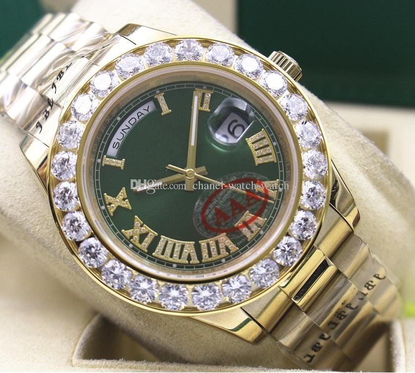 Mens Day-Date 2 II 41MM Président en or jaune 18 carats cadran vert plus grand diamant automatique Montre pour homme Montres de poignet sport romains hommes