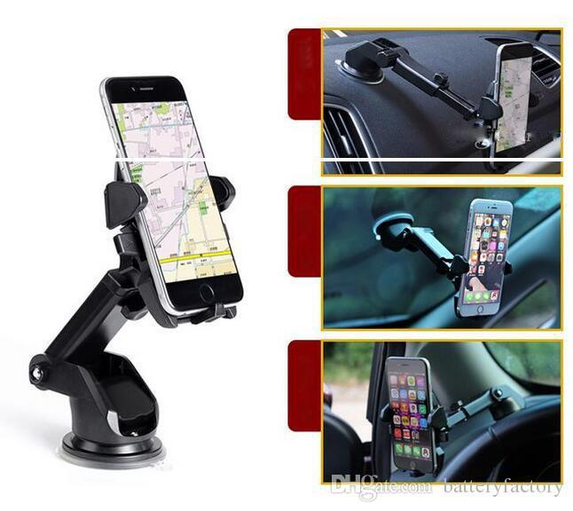 Supporto da auto One Touch Supporto universale Supporto a cruscotto universale Supporto per telefono cellulare Robusto per Samsung S8 Plus iPhone 7 plus Retailpack