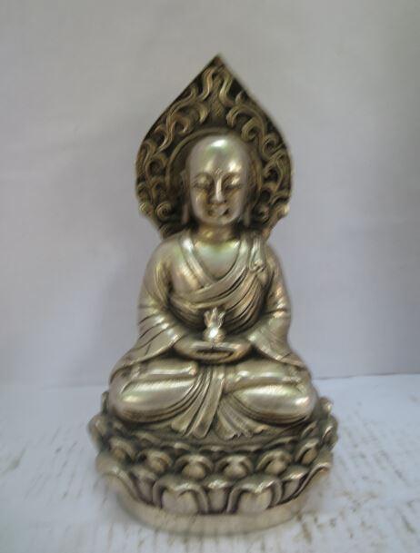 Weihnachtsschmuck für Zuhause + Sammlerstück dekoriert alte Handarbeit Tibet Silber geschnitzt Tang Dynastie Buddha Statue / Skulptur