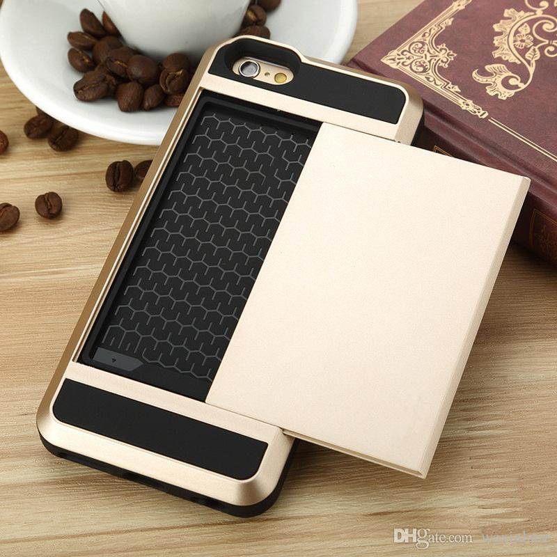 For Iphone 5S/5C/5G 6S HUAWEI P8 Slide Wallet Armor Card Holder Shockproof Back Phone Case Dual PC TPU Cover for Iphone