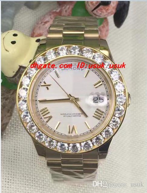 Luxus Armbanduhr 2 II Massiv 18 kt Gelbgold 41mm Größerer Diamantuhr Keramik Lünette Mechanische Männer Uhren Top Qualität Neue Ankunft