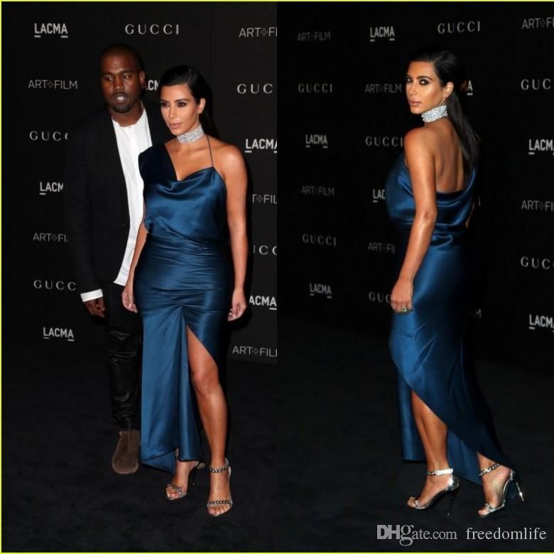 Sexy Red Carpet Celebrity vestido de noche CMA Kim Kardashian vaina de un hombro vestidos de noche del cóctel del partido del vestido formal del desgaste de mujeres