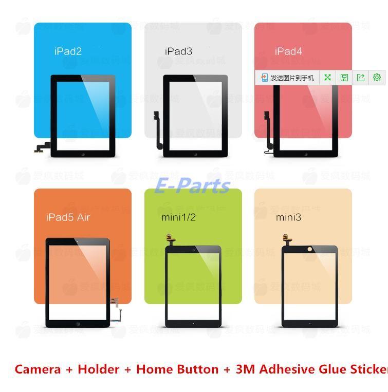 (100 ٪ الأصلي غير نسخة) لباد 2 3 4 5 Air ipad mini 1 2 3 لمس الشاشة محول الأرقام الجمعية مع زر المنزل واستبدال لاصق 3M