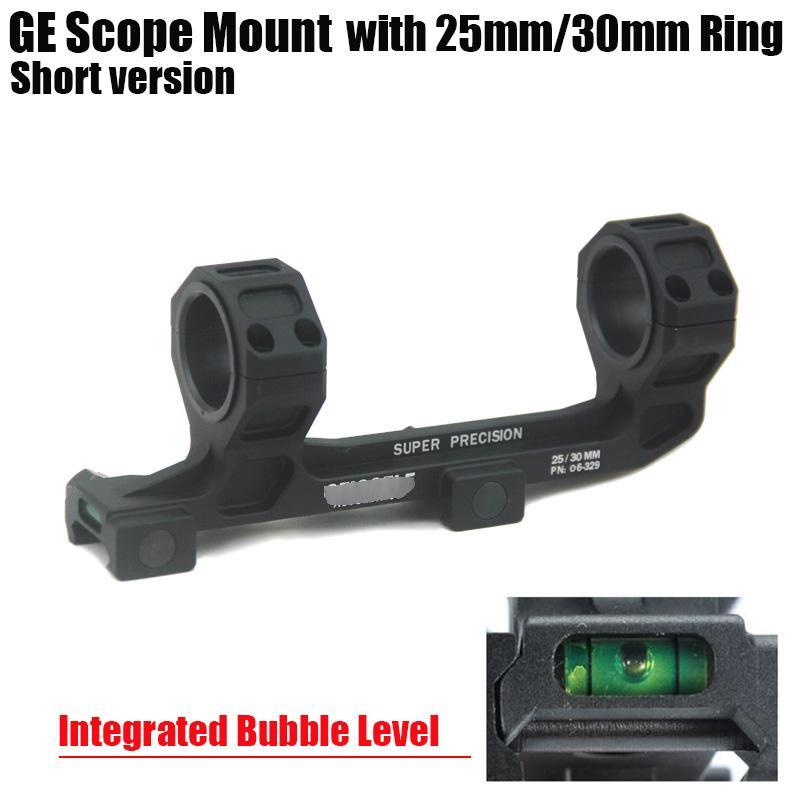 Крепление для охотничьего ружья GE Опора 25 мм / 30 мм в диаметре Кольца AR15 M4 M16 со встроенным уровнем пузыря Fit Weaver Picatinny Rail Short Version Black