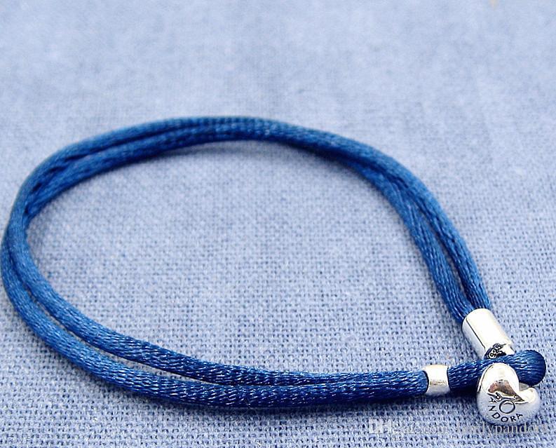 Pulseira de cabo de tecido azul com fecho de coração de prata esterlina serve encantos de jóias de estilo Europeu Pandora e grânulos