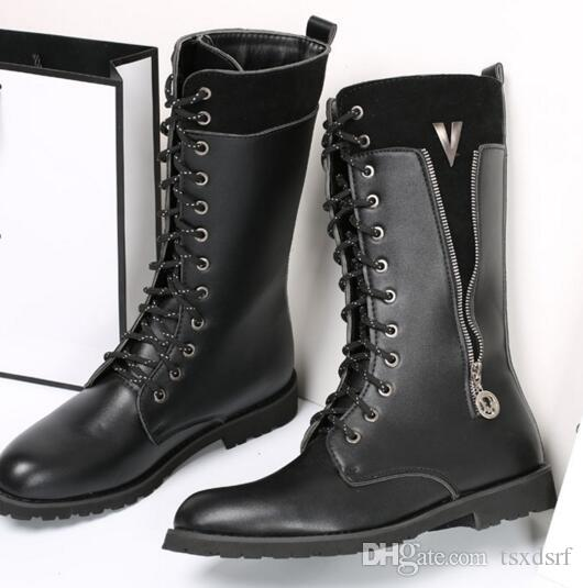 Fashion Men/'s Combat Goth Band Military Ankle Mid Calf Martin Boots Zipper Shoes