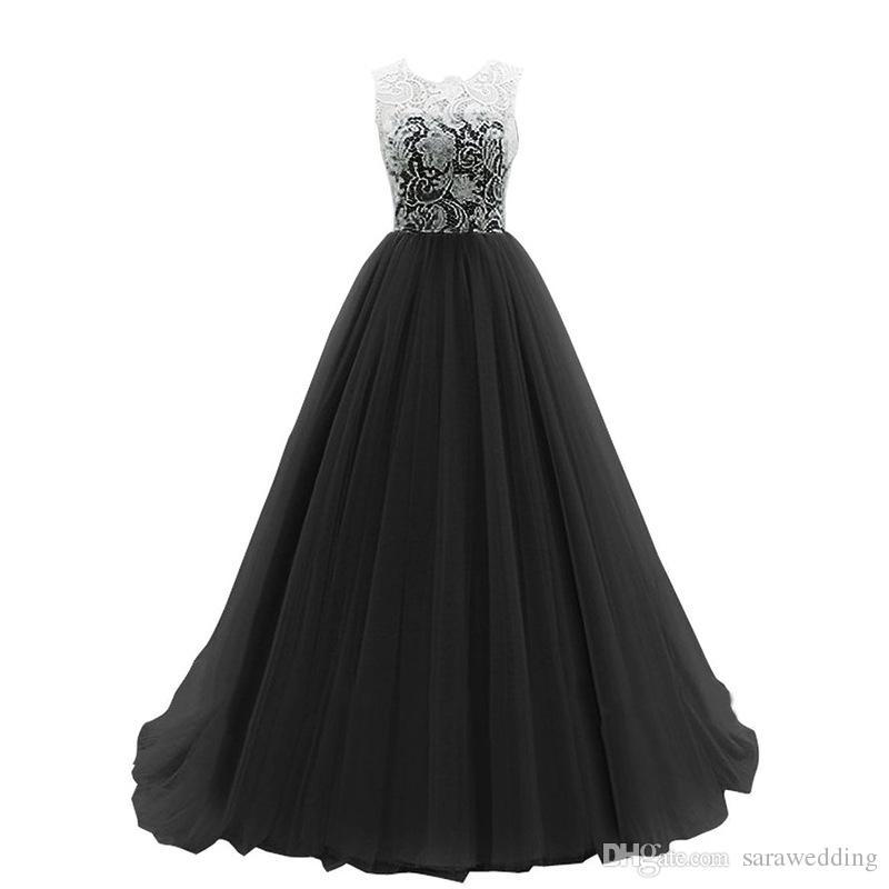 Scoop Neck Lace Tulle A Line Evening Dress With Appliques 2017 Covered Button Evening Gowns Floor Length
