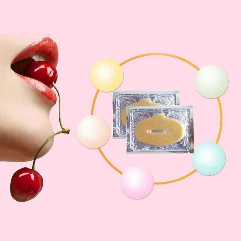 Wholesale- 10pcs New Women Lady Lips Care Gold Sexy Crystal Membrane Collagen Moisture Essence Lip Masks free shipping