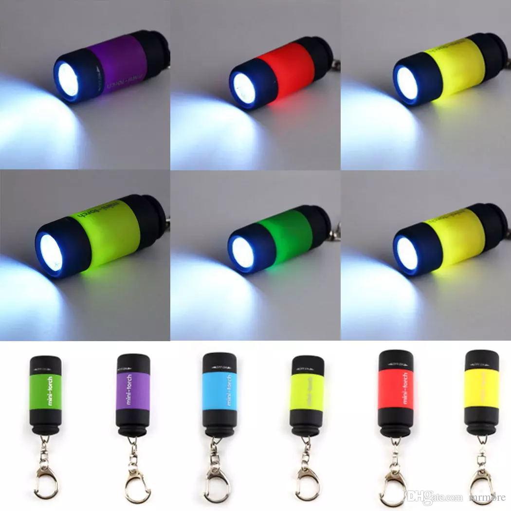 New 6 Colors Portable Rechargeable USB Mini LED Torch Lamp Light Flashlight Key Chain Ring Mini Flashlight Lanterna Built in Battery