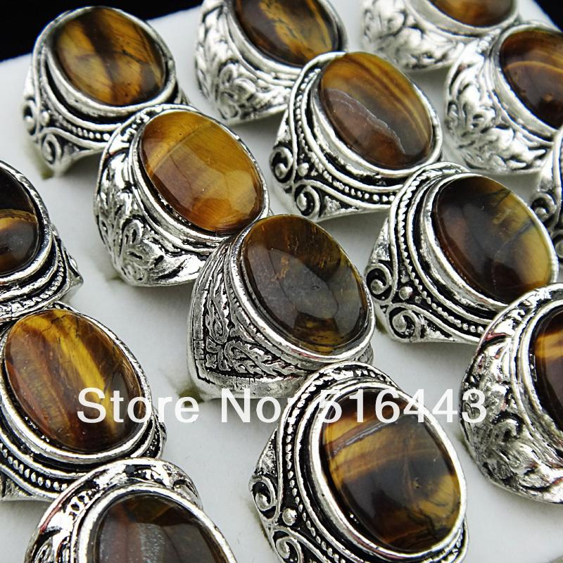 10pcs Vintgage Silver Natural Tiger eye Stones Retro Women Mens Rings Wholesale Jewelry Lots A-653