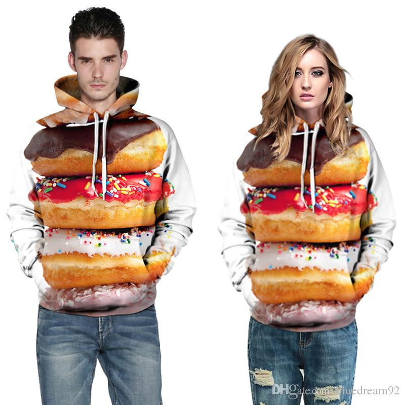 Creative digital 3d printing sweatshirts will hoodies cute donut couple set personality mens plus size loose sweatshirts women clothes