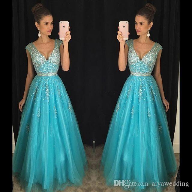 2020 New Sexy Ice Blue Prom Dresses V Neck Cap Sleeves Bling Crystal Beaded Tulle Long Backless Formal Evening Party Gowns Pageant Dresses