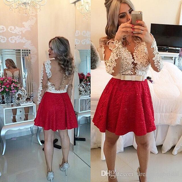 Champagne Red Short Homecoming Kleider Langarm Scoop Neck Applique Party Prom Kleider für Kleider Peplum Bow Schöne bescheidene Kleider