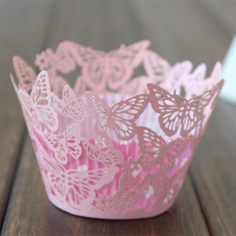 Buttlefly Rosa Laceed Lace Cupcake Wrapper Muffin Bolo Decoração Forros Cupcake Festa de Casamento Decoração Suprimentos
