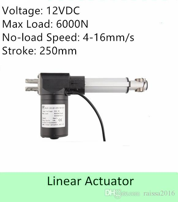 Capacidade de carga pesada 600KGS / 6000N 12volt DC 10inch / 250mm velocidade do comprimento do curso 4mm / s atuador linear elétrico de alta qualidade