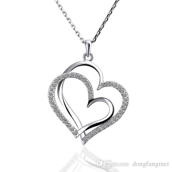 여성 DGN498, 체인 심장 18K 골드 보석 펜던트 목걸이를위한 최고의 선물 화이트 골드 화이트 크리스탈 보석 목걸이