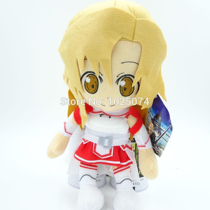SAO Sword Art Online Asuna Kirito Kazuto Stuffed Plush Toys Dolls Pillows New 2pcs set Free Shipping