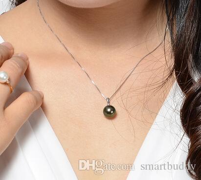 Nouveau vrai bijoux de perles 100% authentique énorme 12mm noir pendentif collier de perles chaîne 18 pouces naturel rond perle pas de faux