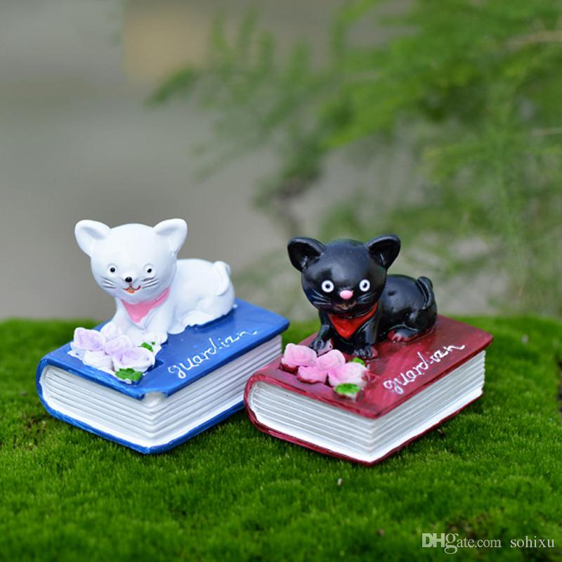 2020 Book Cat Terrarium Figurines Fairy Garden Miniatures Home