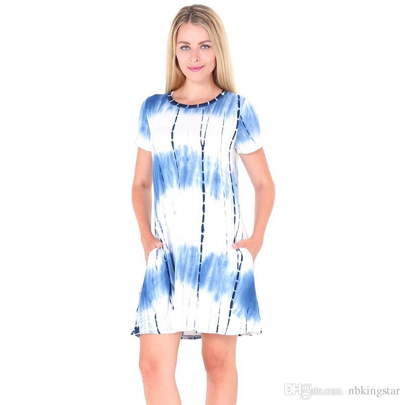 Kadın kravat boya kısa dress 2017 yaz cep gevşek dökümlü degrade o boyun kadın mini t gömlek elbiseler