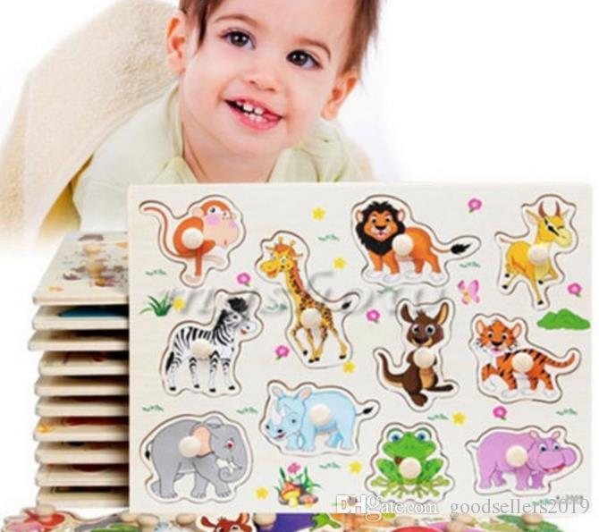 Novos Animais Do Jardim Zoológico De Madeira Jigsaw Crianças Crianças Bebê Aprendizagem Educacional Brinquedo Do Enigma