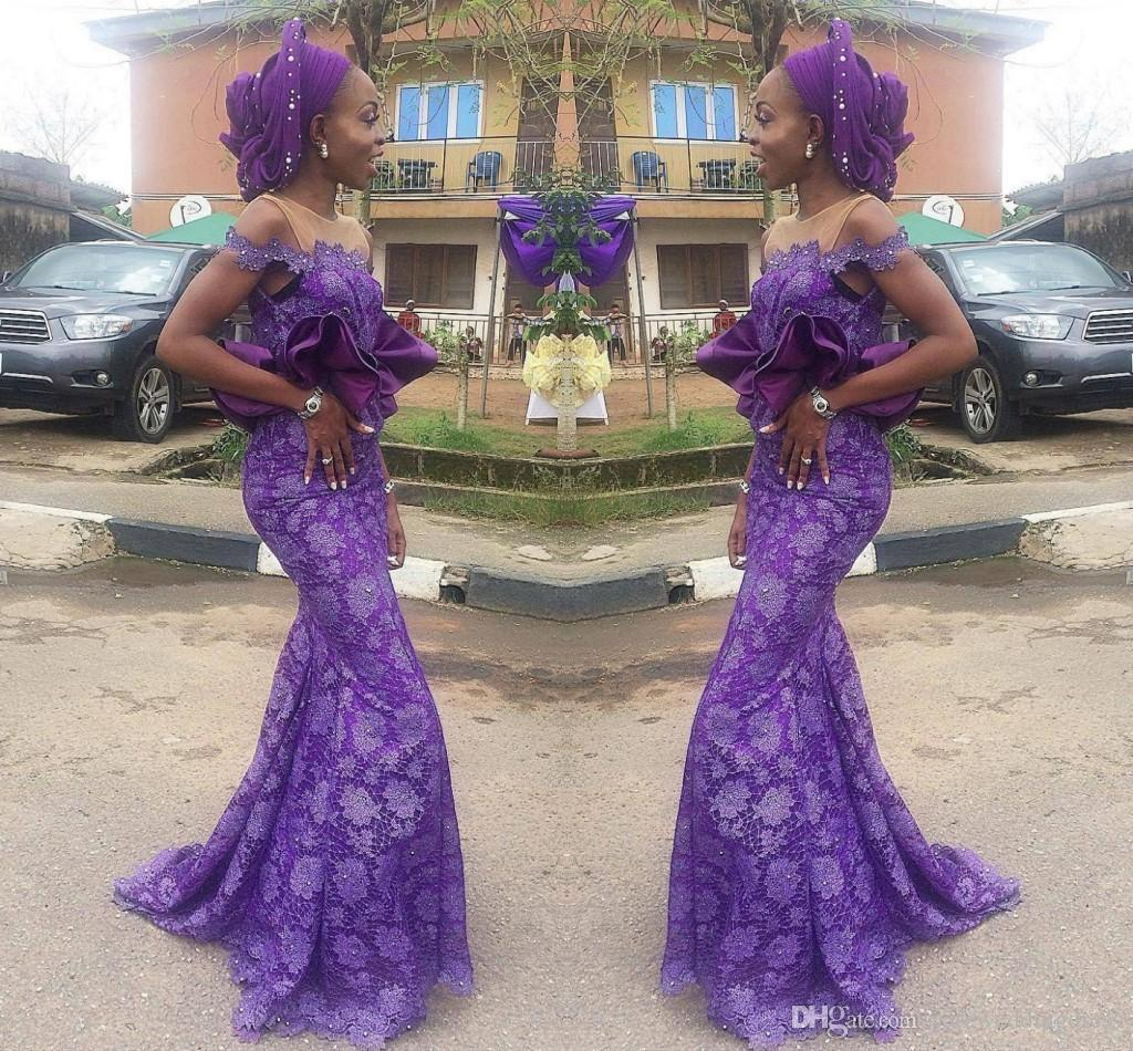 Purple 2017 Off Shoulder Evening Dresses With Lace Applique Mermaid Prom Gowns Back Zipper Custom Made Peplum Formal Occasion Party Gowns