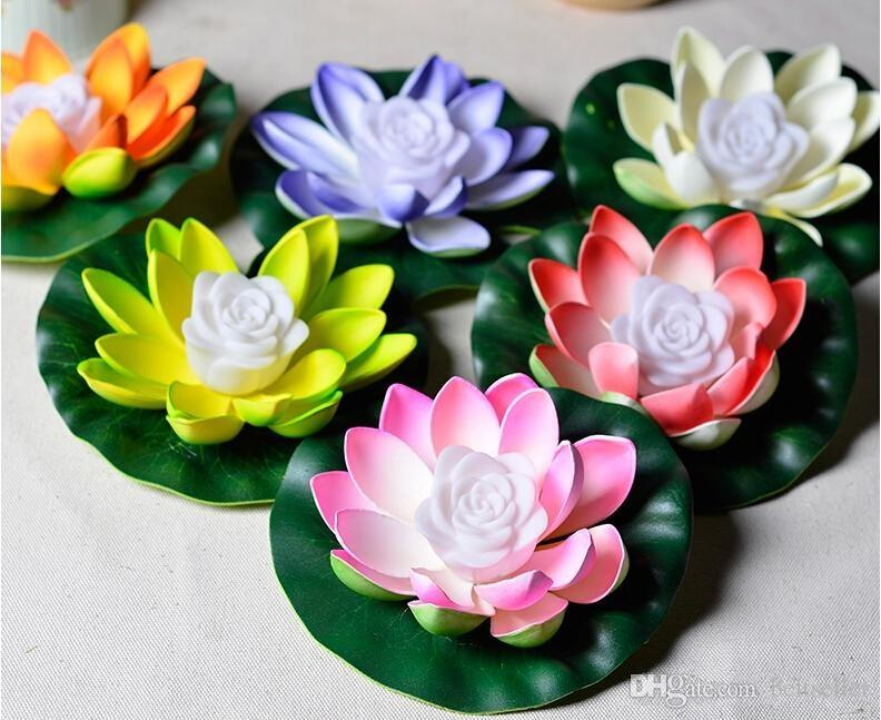 Lótus LEVOU Lâmpada 7 Cores Mudando LEVOU Flor de Lótus Artificial flutuante planta de água de Casamento Decorações Do Partido Suprimentos 100 pcs