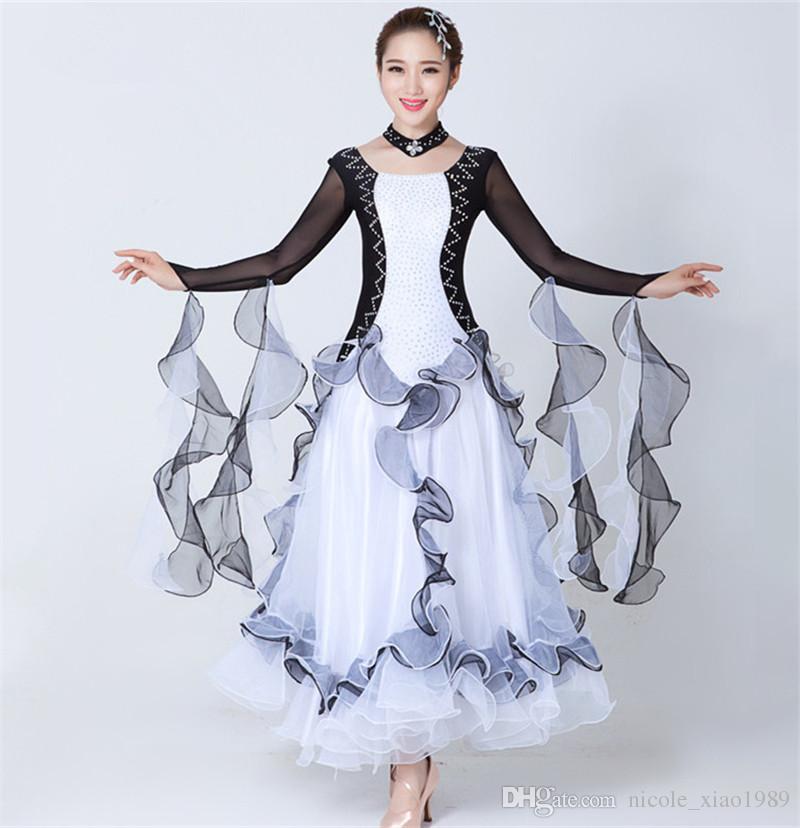2017 Современный танец платье женщины Алмаз вышивка вальс танго фокстрот quickstep костюм конкурс одежда стандартный бальный танец юбка 07