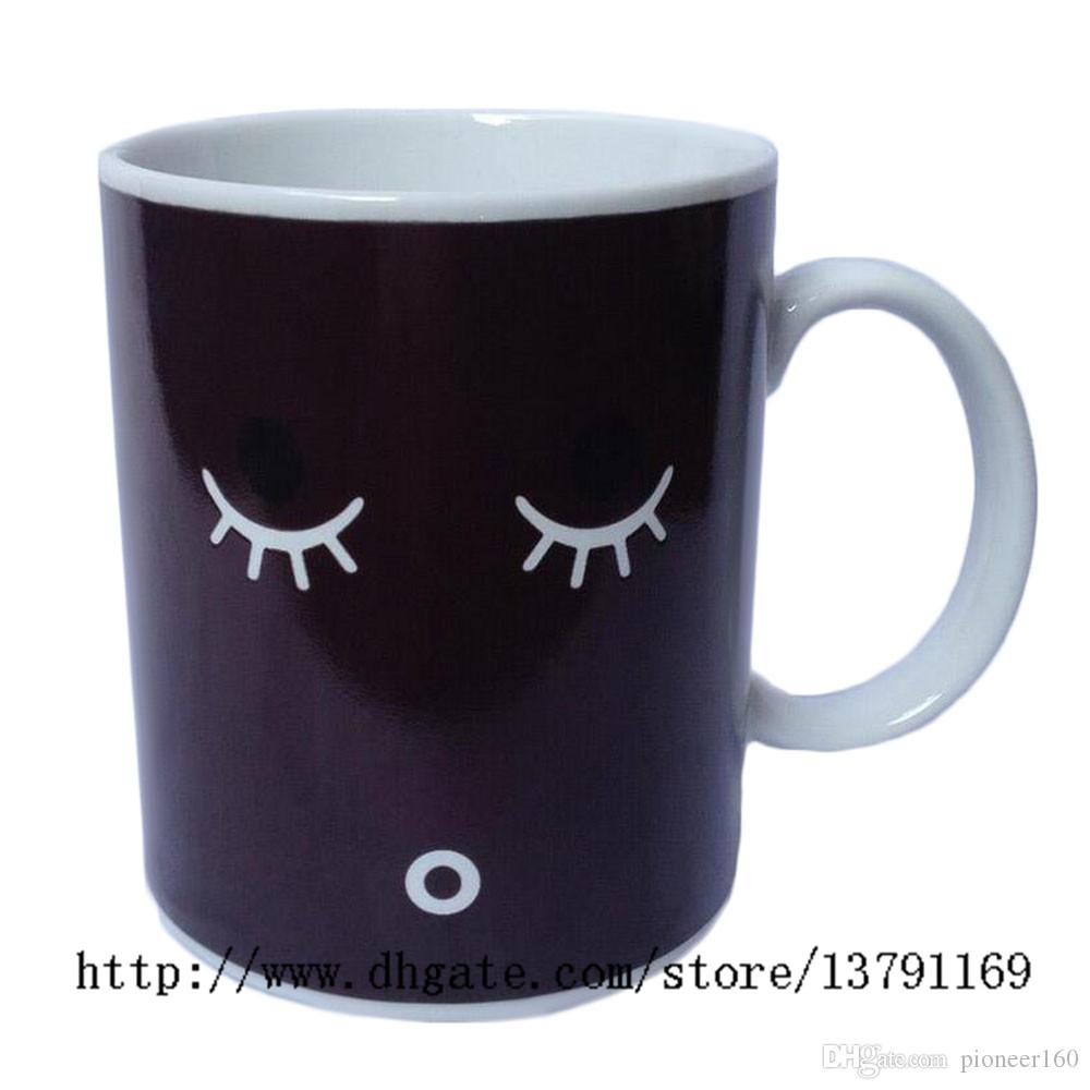 Creative Morning Mug Coffee Cup Color Changing Mug Heat Cold Temperature Sensitive Round Ceramic Tea Cup