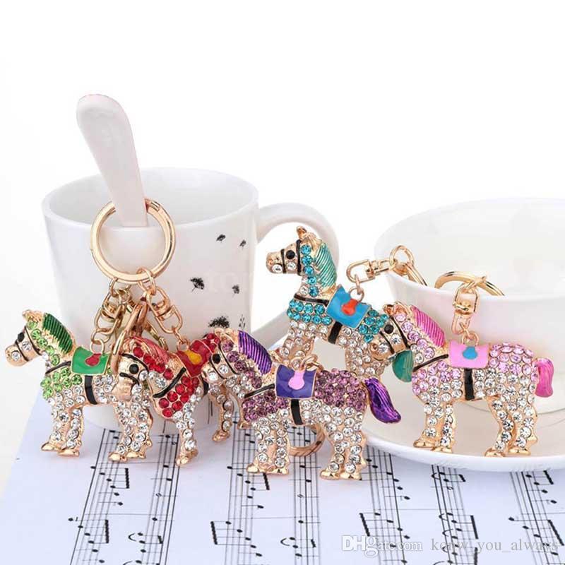 Nuovo carino cristallo cavallo portachiavi portachiavi strass charms pendente borsa borsa portachiavi a catena per le donne ragazza regalo di compleanno 5 colori