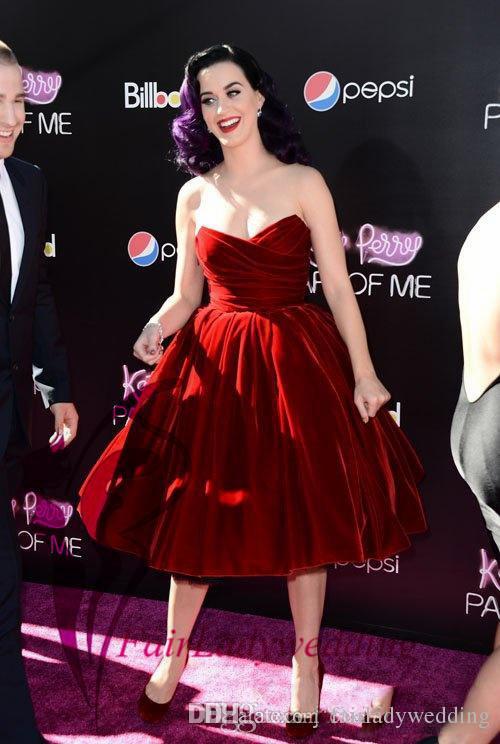 2017 Burgundy Katy Perry Hot Red Velvet Sweetheart Pleats Tea Length ...
