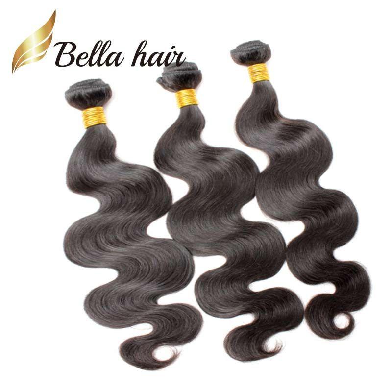 Bellahair® 100% unverarbeitete peruanische menschliche Haarverlängerungen Natürliche Farbe 9A Königin Weave 2 Bündel Body Wave Weft