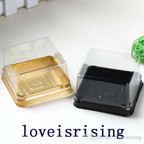 50pcs=25sets 6.8*6.8*4cm Black&Gold Bottom Mini Size Plastic Cake Box Cupcake Container Wedding Favor Boxes Supplies