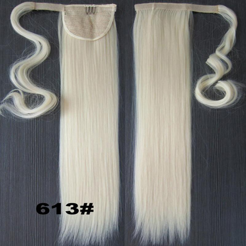 Saç Uzantıları Gerçek Doğal Postiş 47Colors Toptan-Blonde 22INCH Uzun Düz At Kuyruğu Pony tail Klip